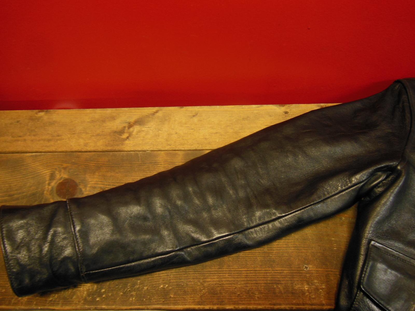 USED HIMEL BROTHERS LEATHER HERON 1929/新喜皮革製黒ホースハイド/SIZE-36/ボタンフロント A-1 ジャケット_c0187684_15080951.jpg