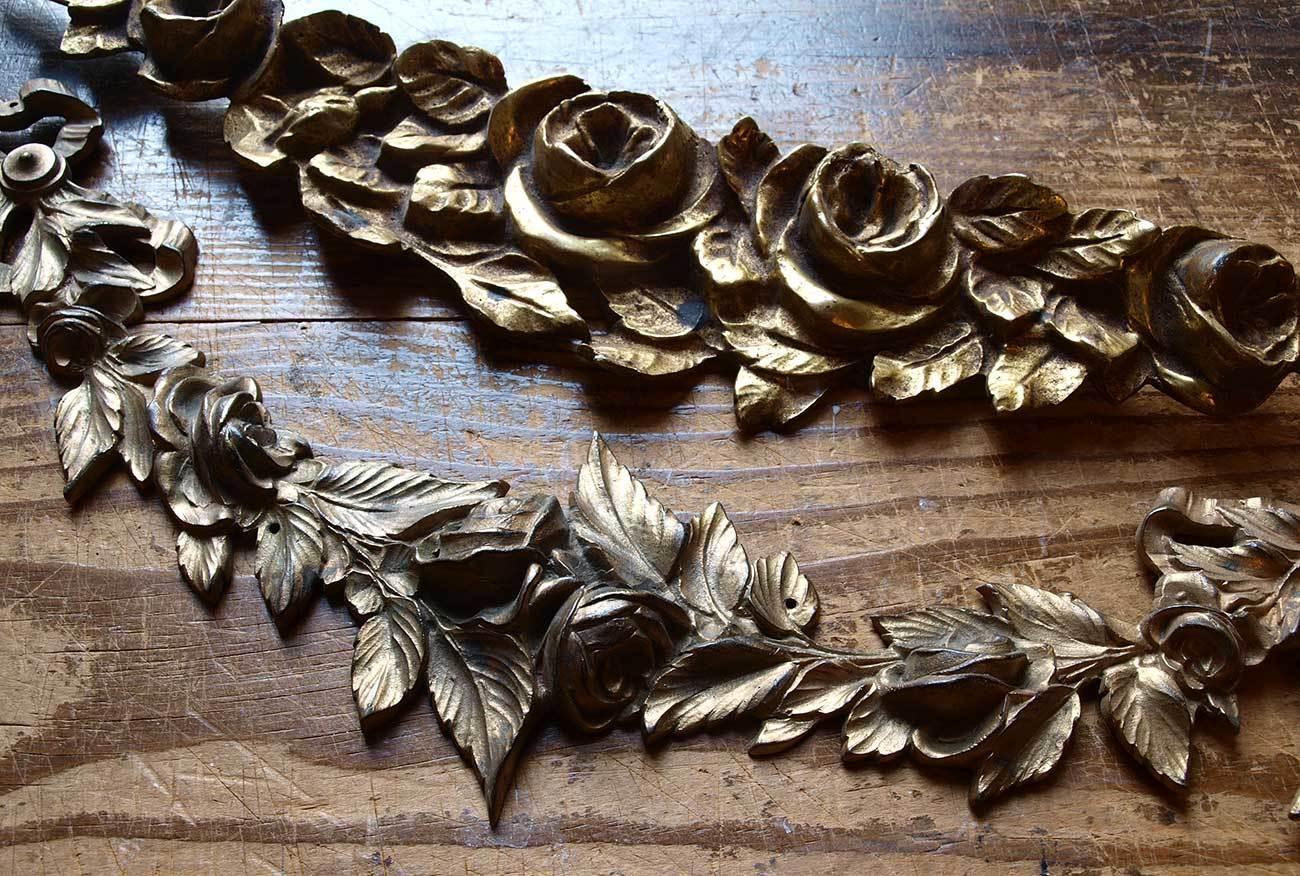 真鍮家具部品 4点 オーナメント 花綱装飾  /G836_e0324838_02423163.jpg
