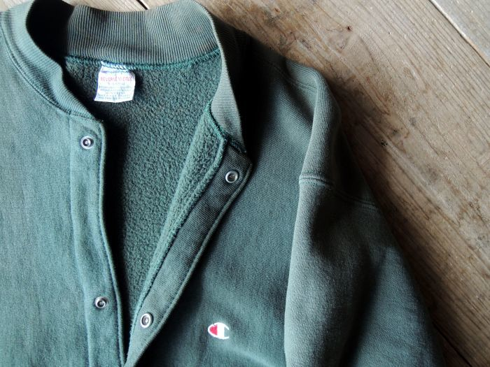 90S CHAMPION REVERSE WEAVE SNAP CARDIGAN GREEN--RECOMMEND--_d0334976_14112187.jpg