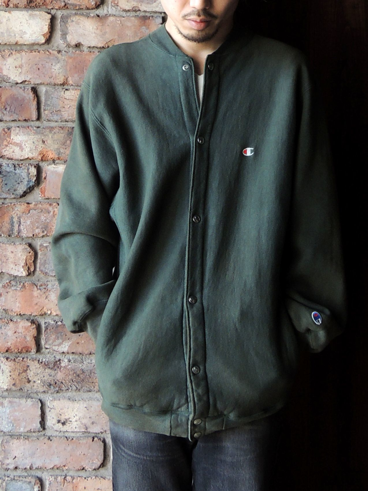 90S CHAMPION REVERSE WEAVE SNAP CARDIGAN GREEN--RECOMMEND--_d0334976_14203915.jpg