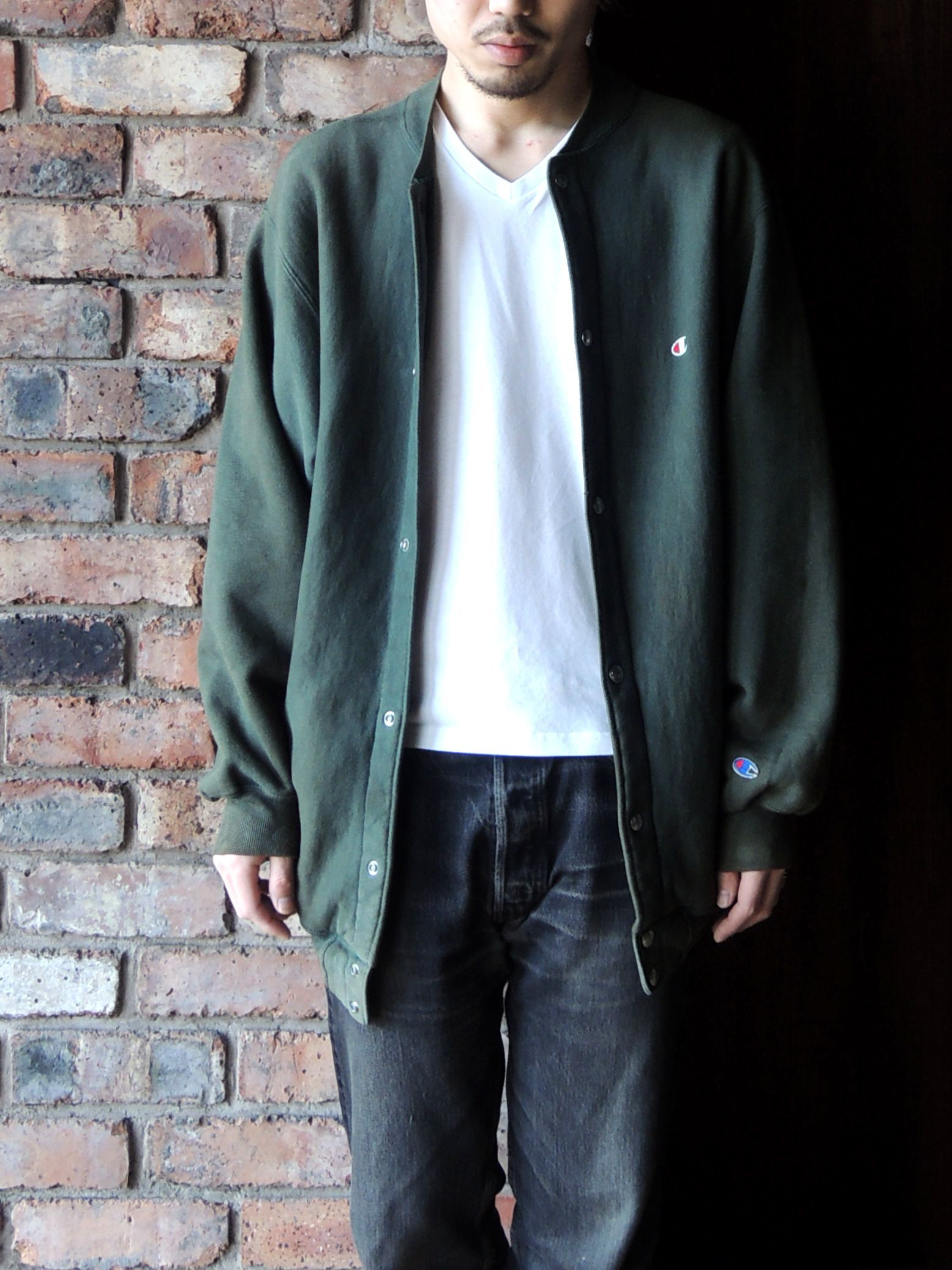 90S CHAMPION REVERSE WEAVE SNAP CARDIGAN GREEN--RECOMMEND--_d0334976_14203931.jpg