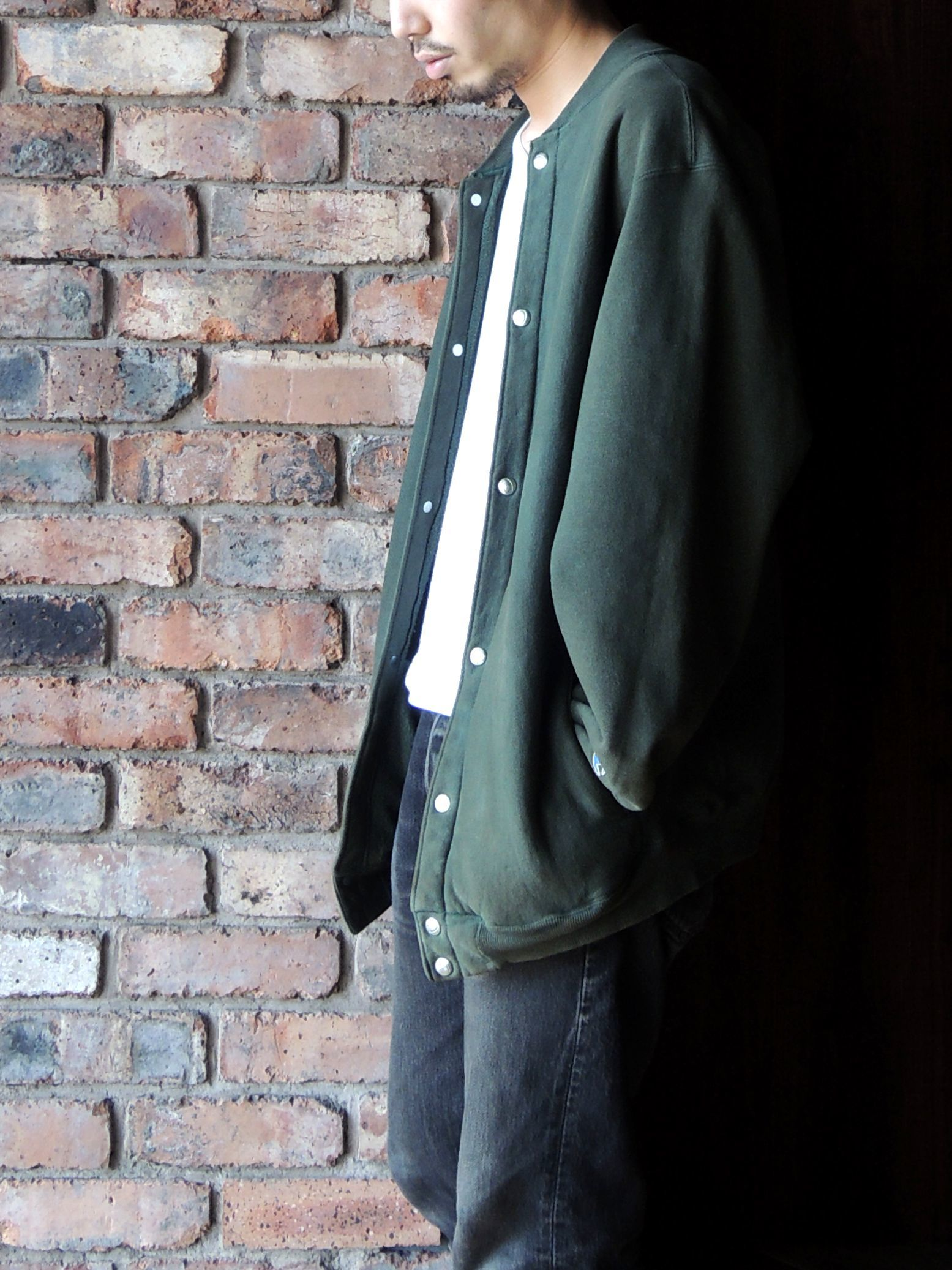 90S CHAMPION REVERSE WEAVE SNAP CARDIGAN GREEN--RECOMMEND--_d0334976_14203983.jpg