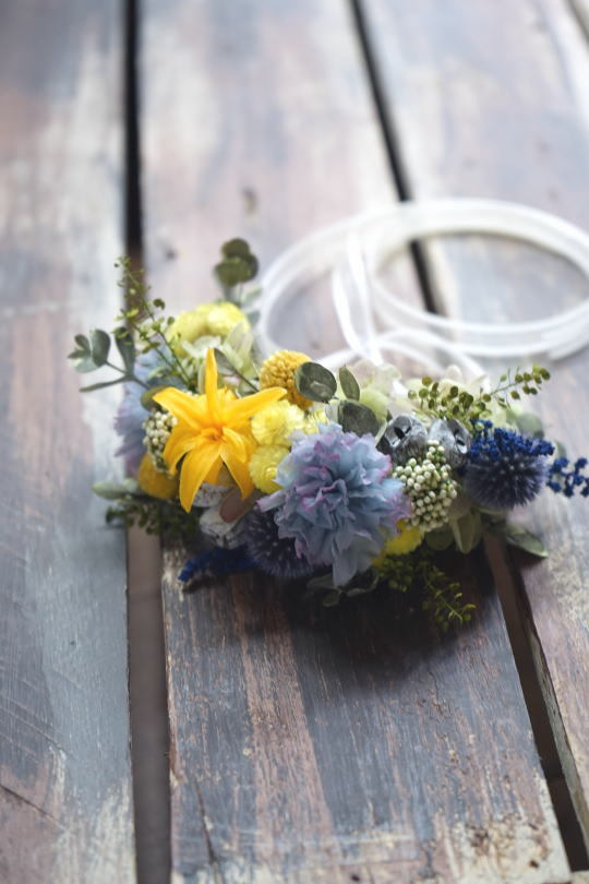 リースブーケ!ブルーのお花で。_a0136507_22132463.jpg