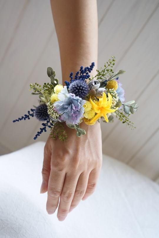 リースブーケ!ブルーのお花で。_a0136507_22134554.jpg