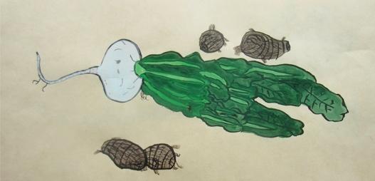 よくみて描く・冬野菜 2020 1月_f0211514_18131866.jpg