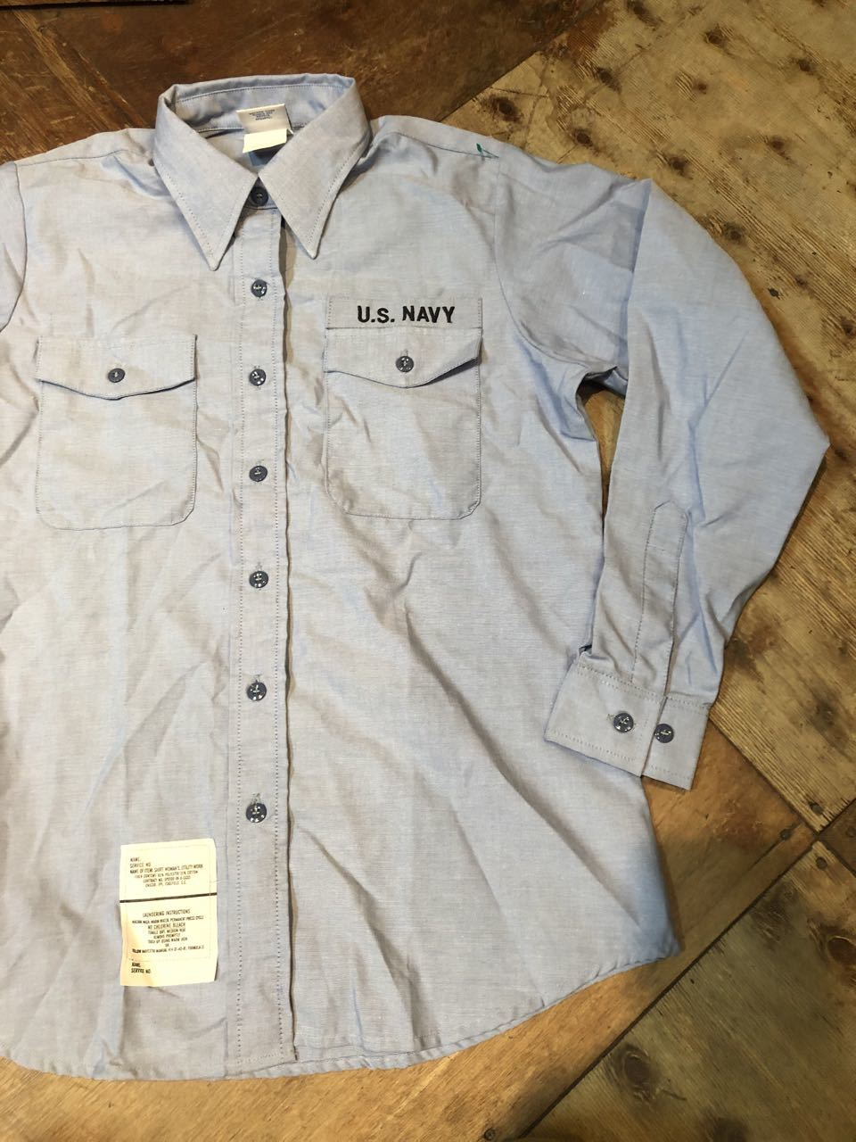 1月19日(日)入荷!90s U.S NAVY シャンブレーシャツ!_c0144020_13032862.jpg
