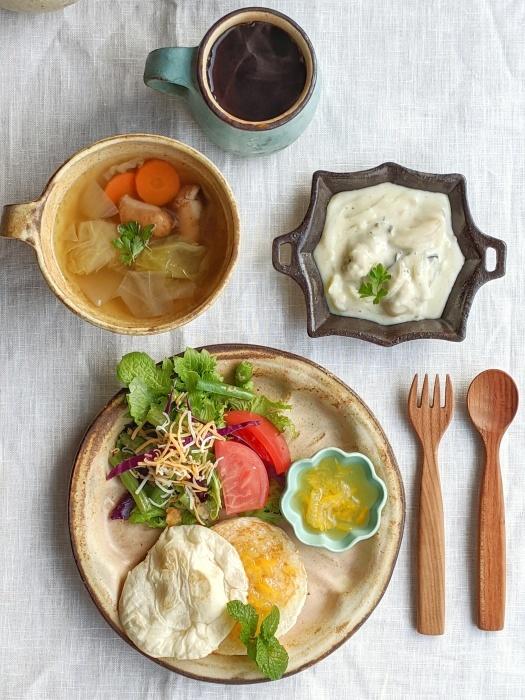 牡蠣のクリーム煮朝ごはん_b0277136_08454521.jpeg