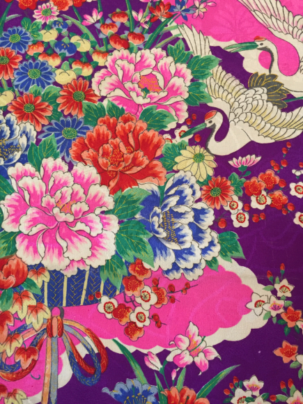 1/29より!新宿伊勢丹「大正ロマン百貨店」紫ピンク花と鶴着物×ピンク水色縞花帯♪販売商品7_c0321302_10563616.jpg