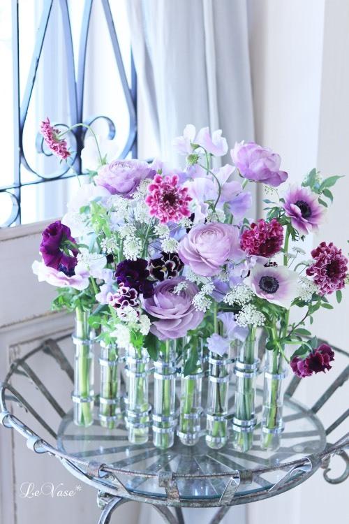 Living flowerクラス tube vaseの春色アレンジ_e0158653_17150005.jpg