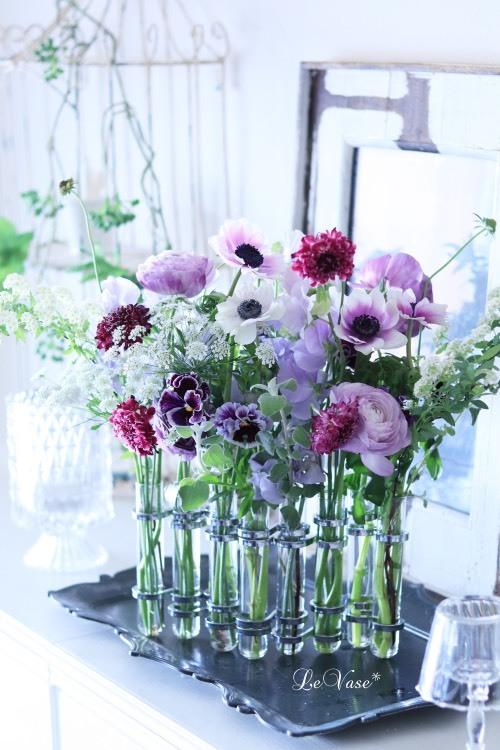 Living flowerクラス tube vaseの春色アレンジ_e0158653_17151764.jpg
