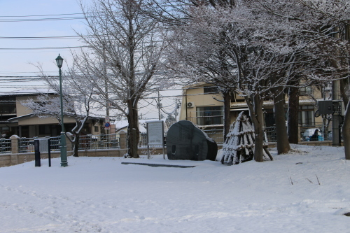 重文本館の朝 2020.1.22 道路初めて凍結_c0075701_09231122.jpg