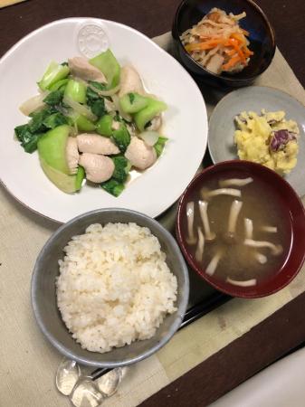鶏肉とチンゲン菜の炒め物_d0235108_21320301.jpg