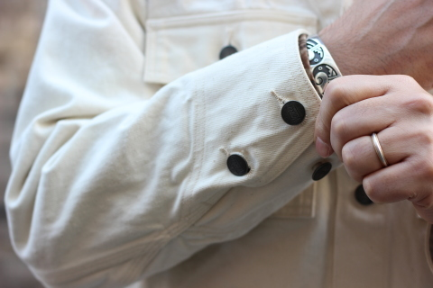 「WORKERS」 Engineer Jacket, White Denim, Sanforized ご紹介_f0191324_08252311.jpg