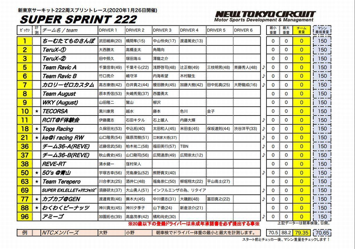 【1/26開催予定】SUPER SPRINT 222 エントリー発表★_c0224820_12461189.jpg
