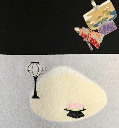 商品紹介・綺麗なアップリケのお雛様の帯+岡重小紋。_f0181251_19095999.jpg