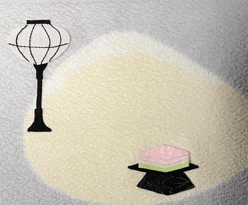 商品紹介・綺麗なアップリケのお雛様の帯+岡重小紋。_f0181251_19102069.jpg