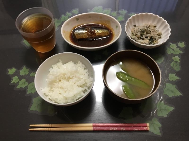 しらゆり荘 朝食 :  いわしの生姜煮、もやしの梅肉和え、御飯、味噌汁_c0357519_07095377.jpeg