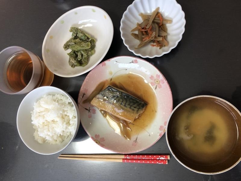 しらゆり荘 昼食 さばの煮付け ささがき金平 いんげんの胡麻和え ご飯 味噌汁_c0357519_12032651.jpeg