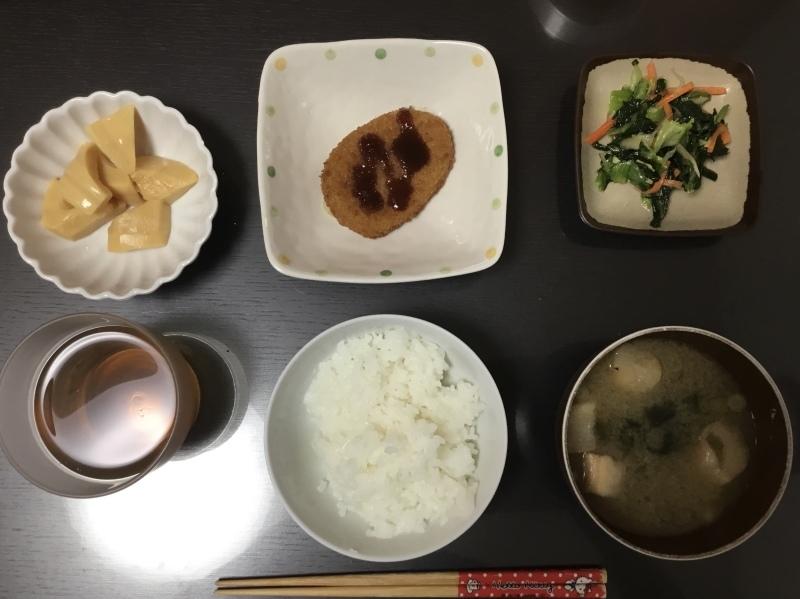 しらゆり荘 夕食 カニクリームコロッケ 筍の煮物 青梗菜の生姜和え_c0357519_17461129.jpeg