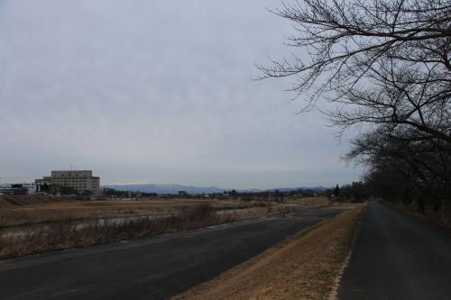雪のない米沢の街を、工学部キャンパスより万里橋経由自宅へ_c0075701_17350510.jpg