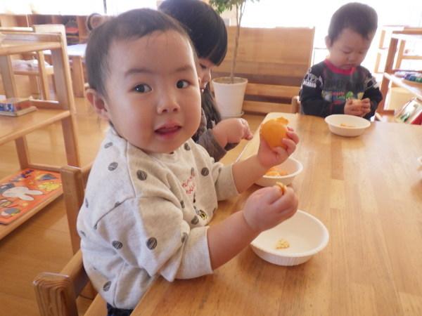 乳児食育:みかんの皮むき_e0319922_16153100.jpg