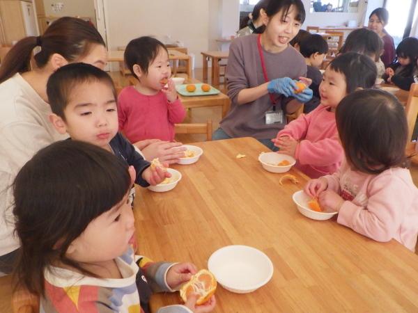 乳児食育:みかんの皮むき_e0319922_16345176.jpg