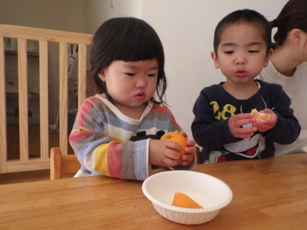 乳児食育:みかんの皮むき_e0319922_16373034.jpg