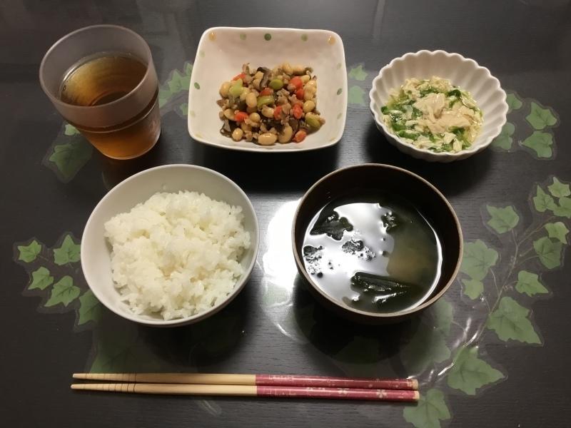 しらゆり荘 朝食 :  畑のお肉の五目煮、ゆばとろろ、御飯、味噌汁_c0357519_07135144.jpeg