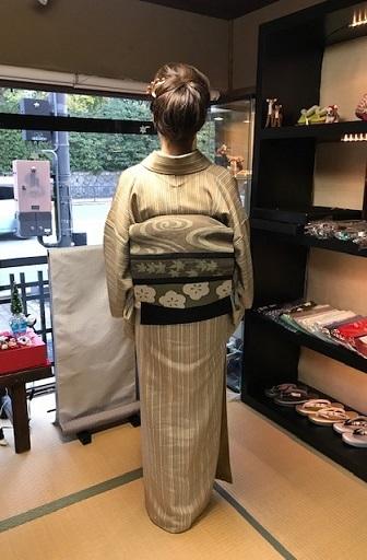 野田さんコンサート&ご来店のお客様・縞の着物に長羽織。_f0181251_19015668.jpg