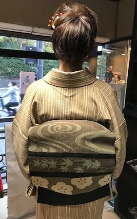 野田さんコンサート&ご来店のお客様・縞の着物に長羽織。_f0181251_19050569.jpg