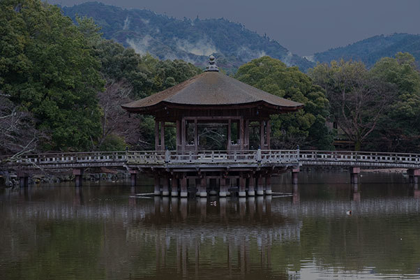 雨あがりの浮見堂  The UKIMIDO with wooden bridge in Nara park._e0245846_17211089.jpg