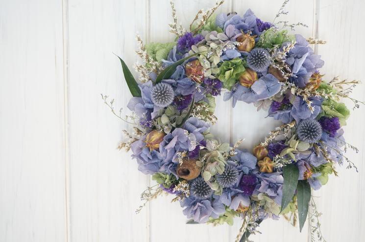 ラベンダー色の紫陽花リース_a0136507_21460509.jpg