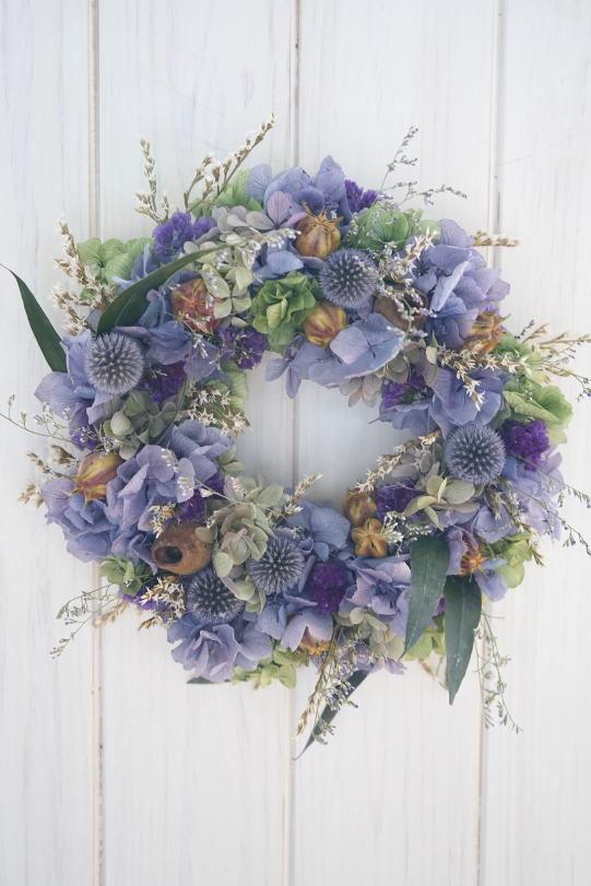 ラベンダー色の紫陽花リース_a0136507_21462212.jpg