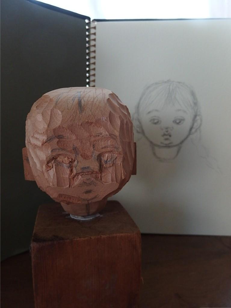 30センチの女の子の顔作り_d0079147_16140429.jpg