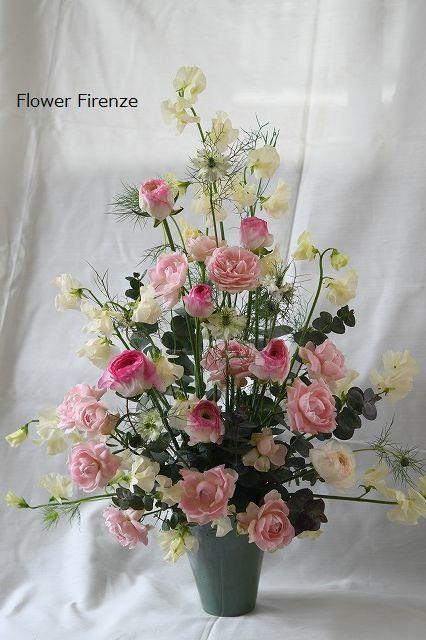 *春の花でトライアンギュラーアレンジメント   *_e0159050_17222113.jpg