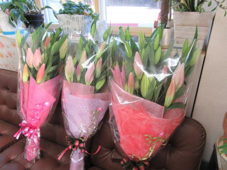 ユリの花束ご注文 ありがとうございます。_f0067514_16343654.jpg