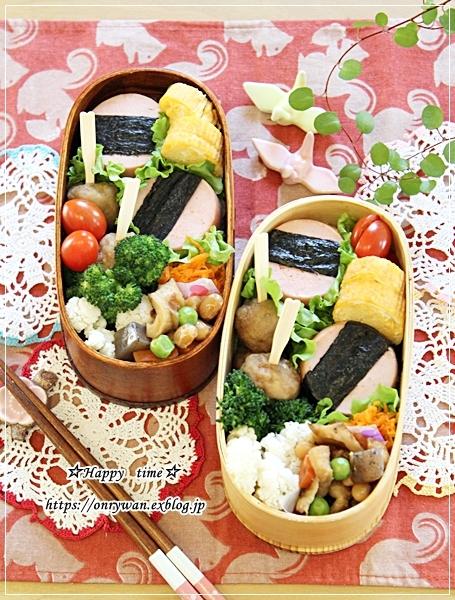 ポークソーセージおむすび弁当と庭からバラのつぼみ♪_f0348032_16085256.jpg