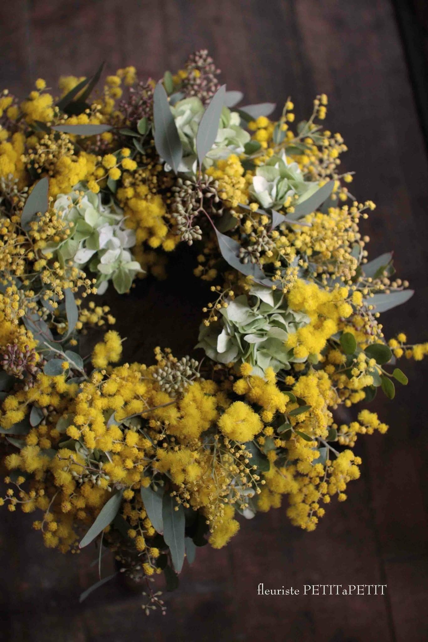 ミモザと西洋紫陽花のリース レッスン_b0051654_11174473.jpeg