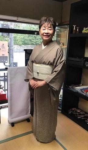 ご来店のお客様・音符道中着・撒き糊着物・藤田織物帯。_f0181251_17300915.jpg