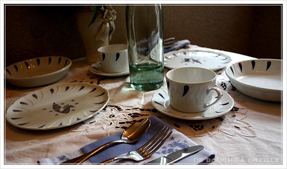 """service de table pour deux エールフランスの食器たち """"Air Franceに乗って... """" フランスアンティーク_d0184921_14041138.jpg"""