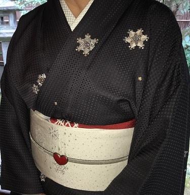 新年会のお客様・雪の結晶の着物・帯・草履・帯揚げ。_f0181251_19093392.jpg