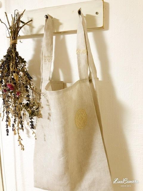軽くてコンパクト♪リネンのレジ袋*handmade_f0056297_21155990.jpeg