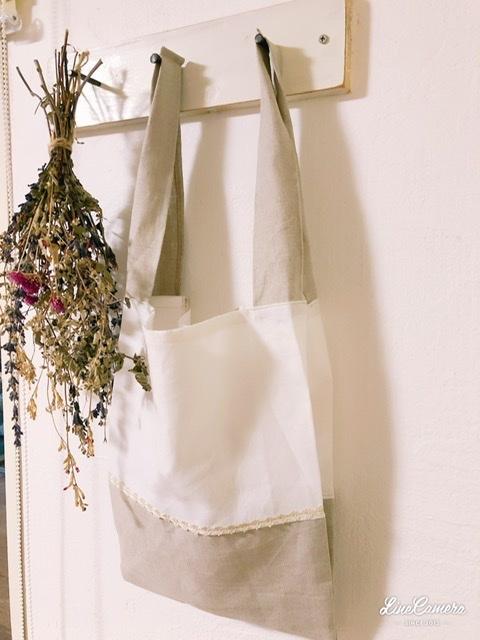 軽くてコンパクト♪リネンのレジ袋*handmade_f0056297_21164842.jpeg