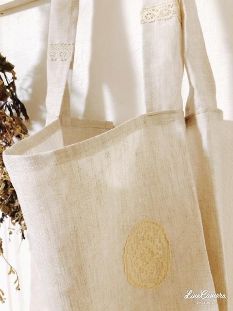 軽くてコンパクト♪リネンのレジ袋*handmade_f0056297_21205183.jpeg