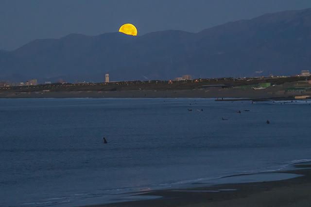 湘南海岸の満月と富士山_b0145398_16493977.jpg