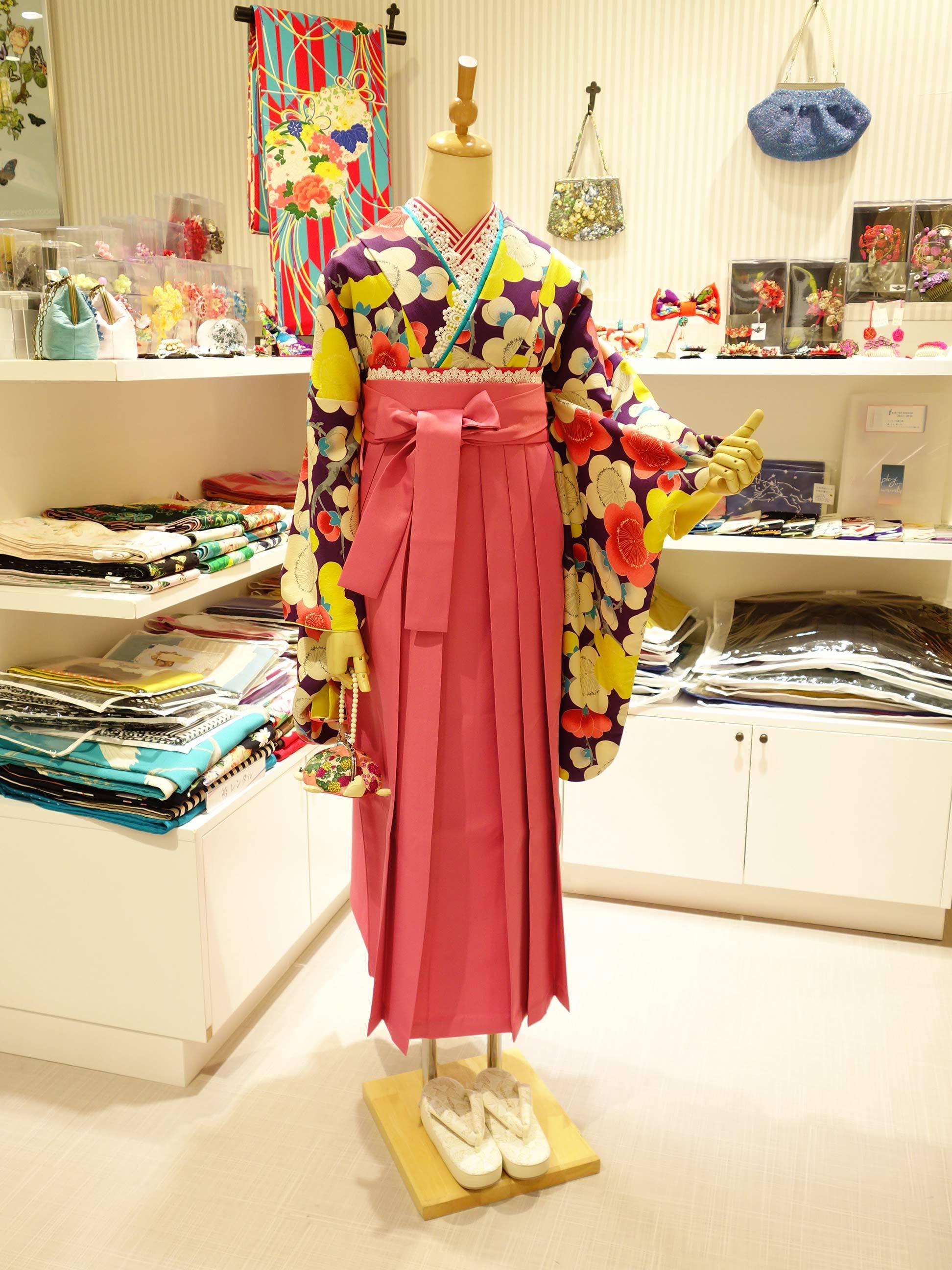 袴レンタル*紫梅×ピンク袴バージョン_e0167832_20273601.jpg