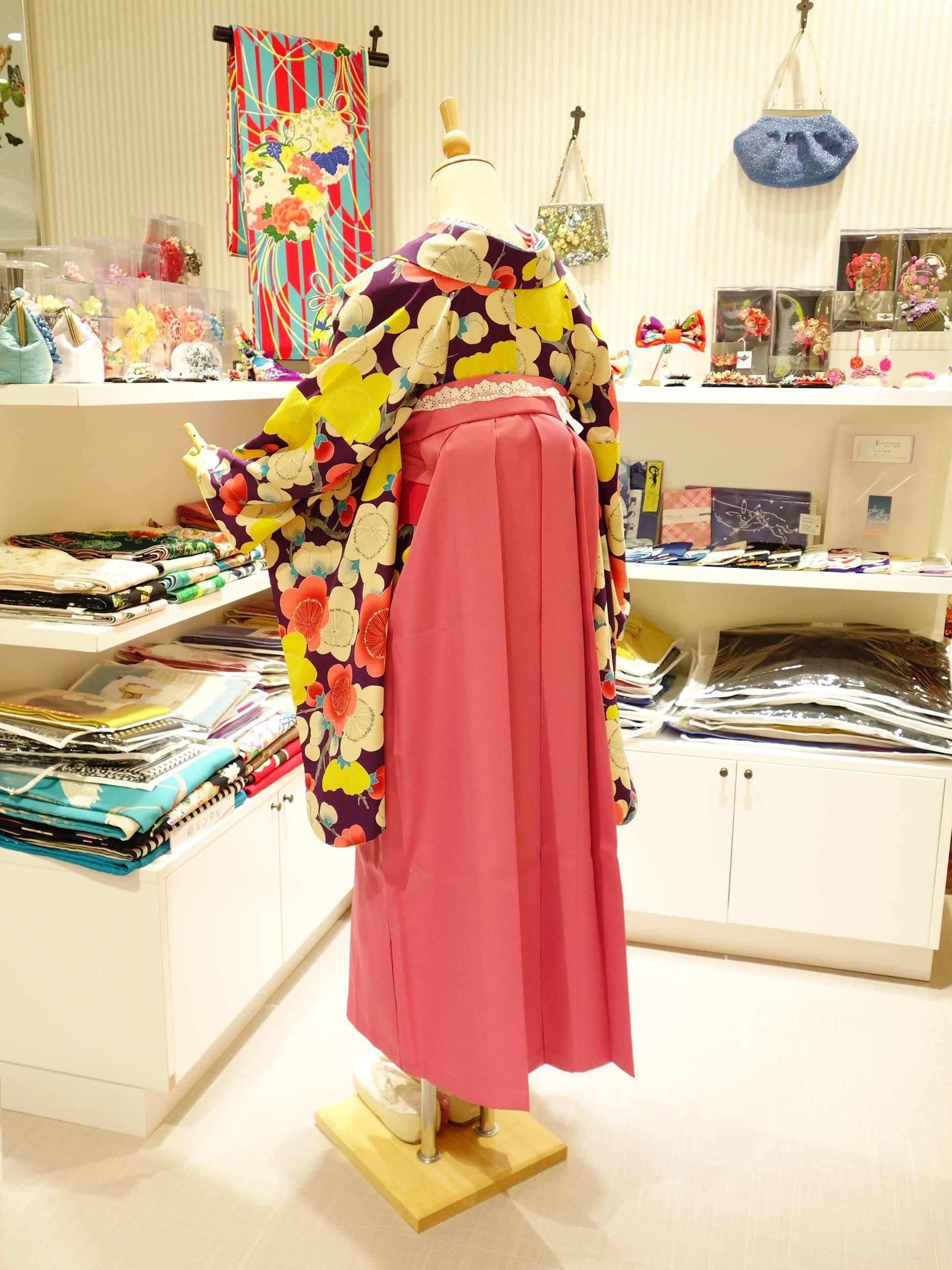 袴レンタル*紫梅×ピンク袴バージョン_e0167832_20274252.jpg