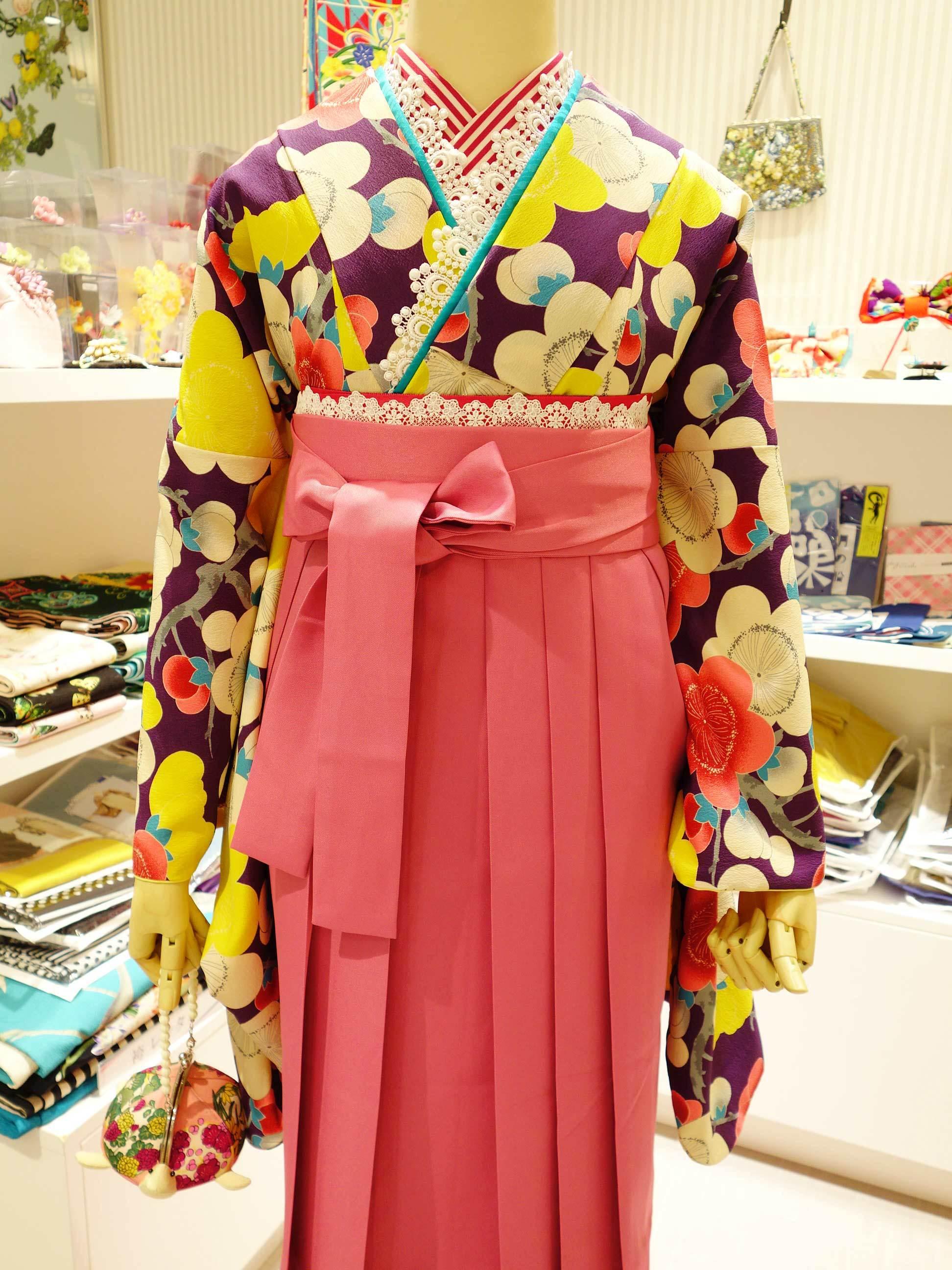 袴レンタル*紫梅×ピンク袴バージョン_e0167832_20274815.jpg
