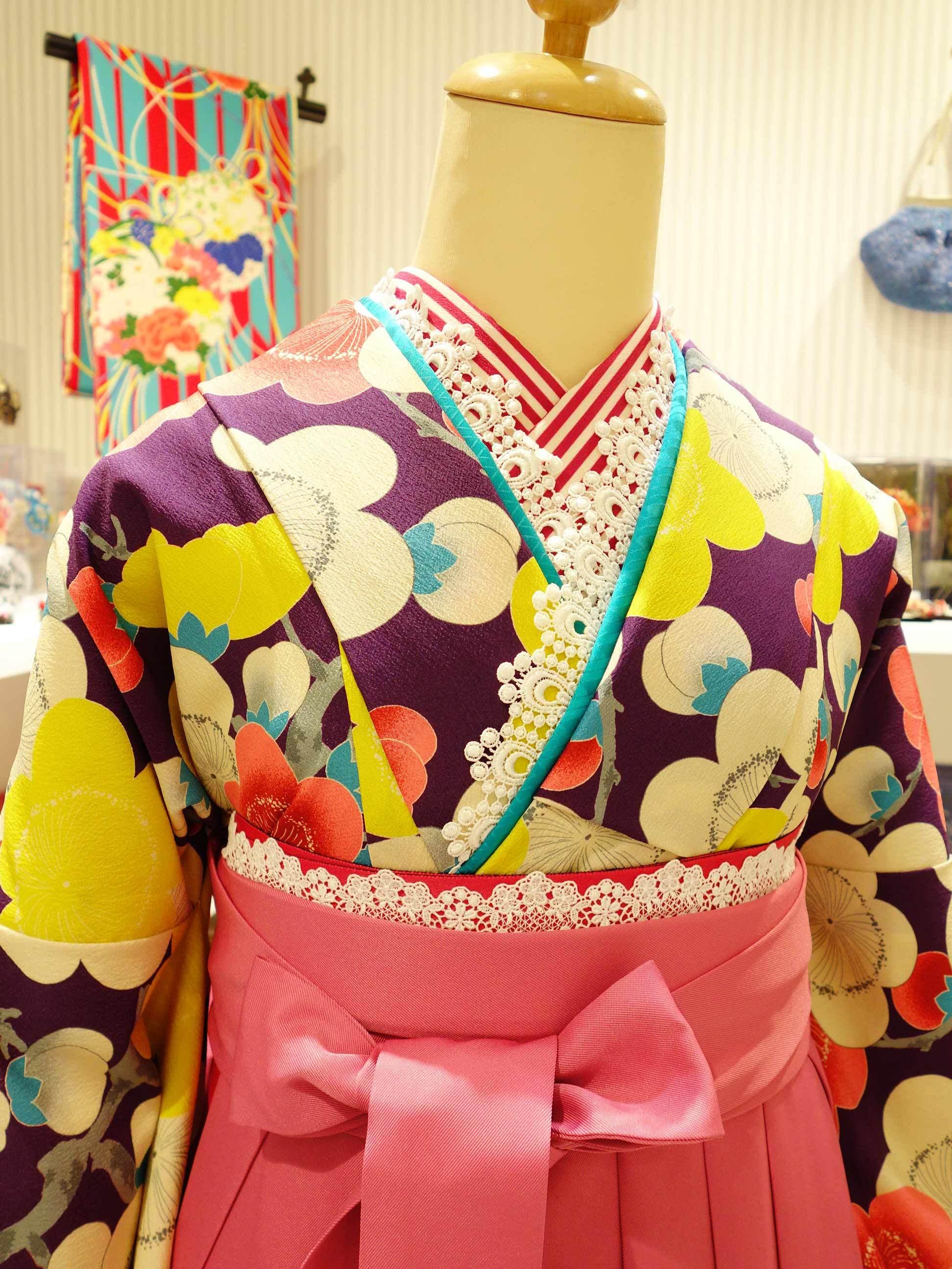 袴レンタル*紫梅×ピンク袴バージョン_e0167832_20275573.jpg