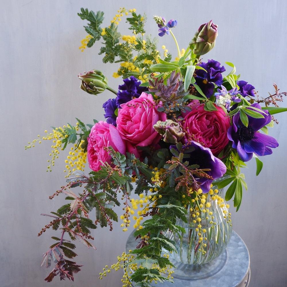 オークリーフ(イヴパッションとミモザの花束)_f0049672_15080185.jpg